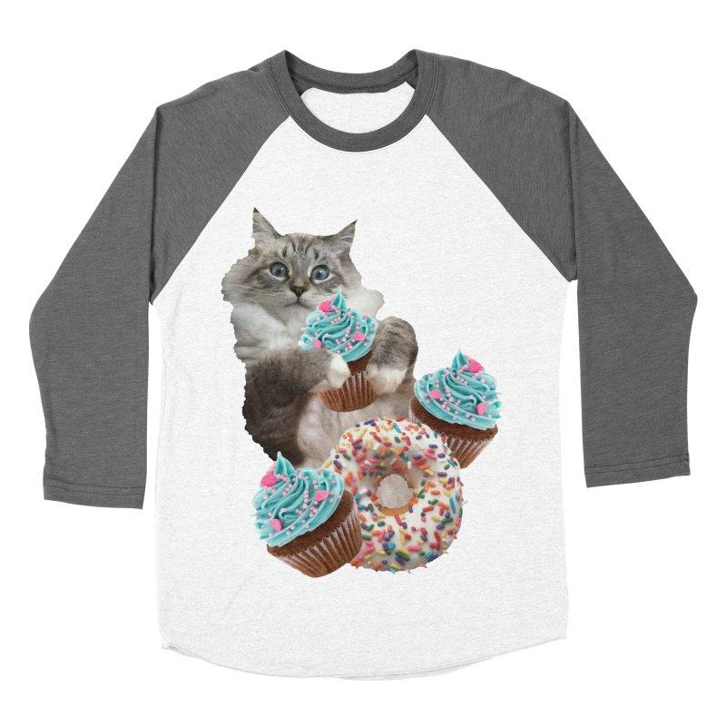 Cupcake Donut Cat  Women's Baseball Triblend Longsleeve T-Shirt by heARTcart's Artist Shop