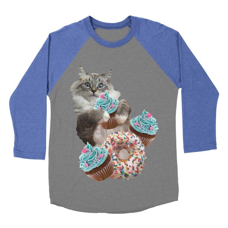 Cupcake Donut Cat  Men's Baseball Triblend Longsleeve T-Shirt by heARTcart's Artist Shop