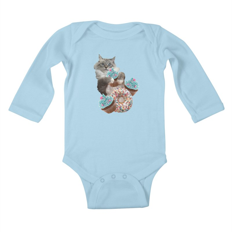 Cupcake Donut Cat  Kids Baby Longsleeve Bodysuit by heARTcart's Artist Shop