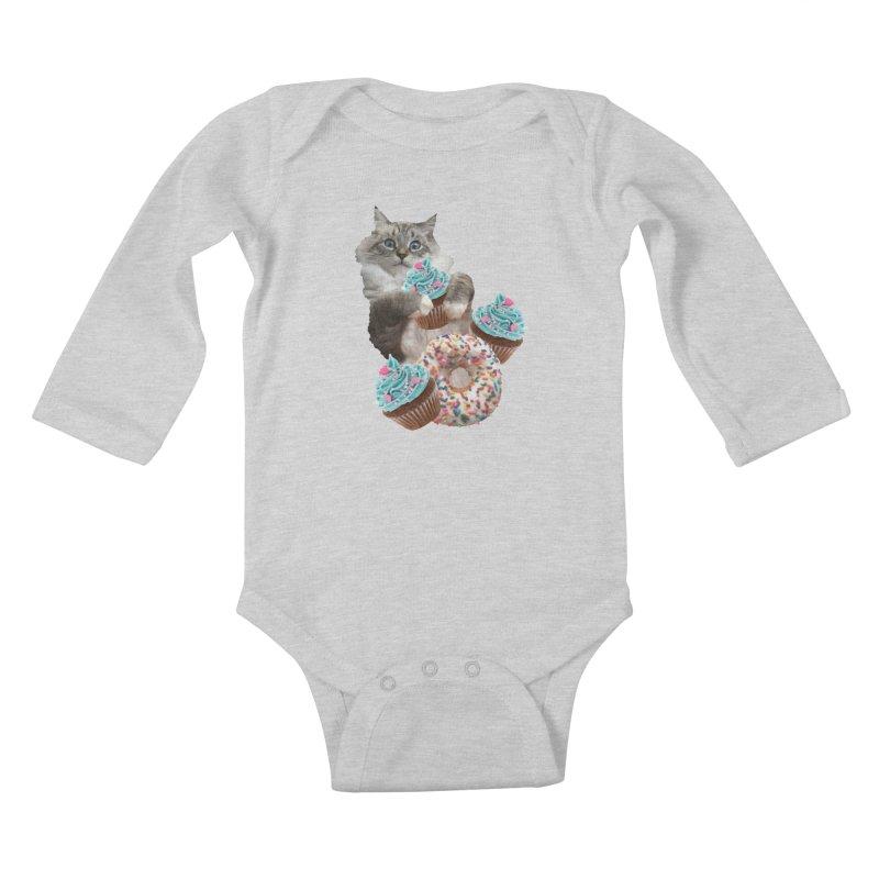 Cupcake Donut Cat  Kids Baby Longsleeve Bodysuit by heARTcart's Artist Shop