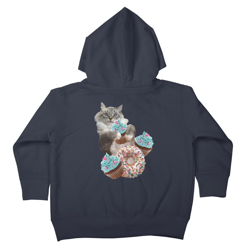 Cupcake Donut Cat  Kids Toddler Zip-Up Hoody by heARTcart's Artist Shop