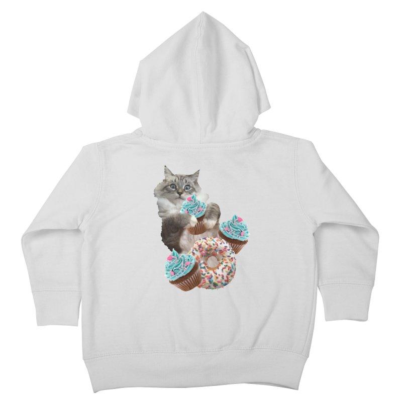Cupcake Donut Cat  Kids Toddler Zip-Up Hoody by heARTcart's Artist Shop