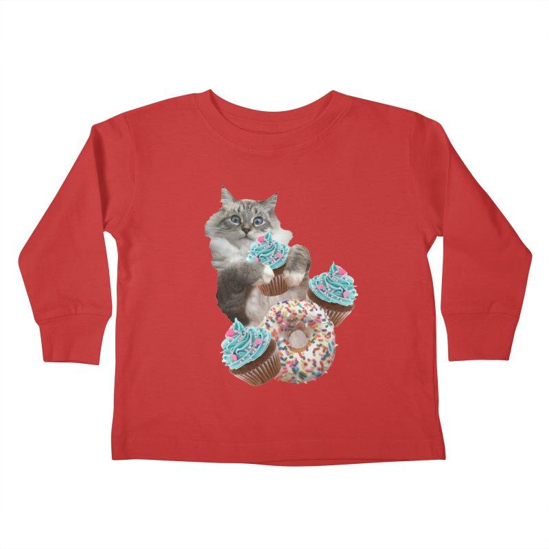 Cupcake Donut Cat  Kids Toddler Longsleeve T-Shirt by heARTcart's Artist Shop
