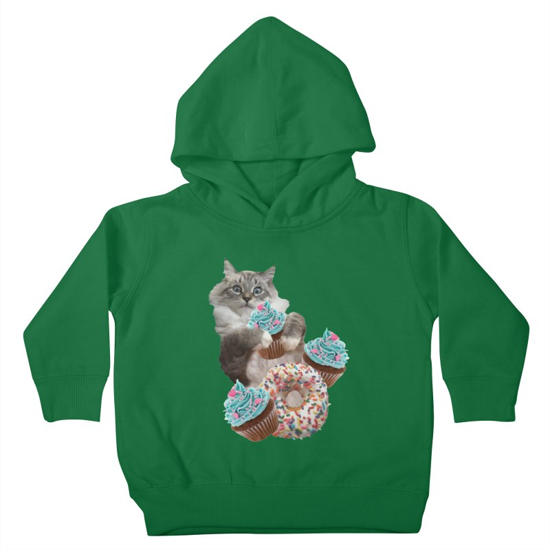Cupcake Donut Cat  Kids Toddler Pullover Hoody by heARTcart's Artist Shop