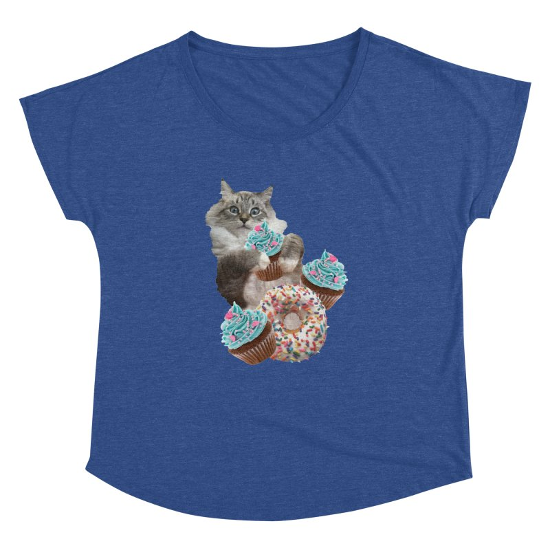 Cupcake Donut Cat  Women's Dolman Scoop Neck by heARTcart's Artist Shop