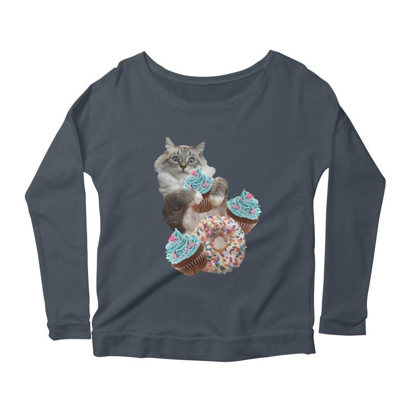 Cupcake Donut Cat  Women's Scoop Neck Longsleeve T-Shirt by heARTcart's Artist Shop
