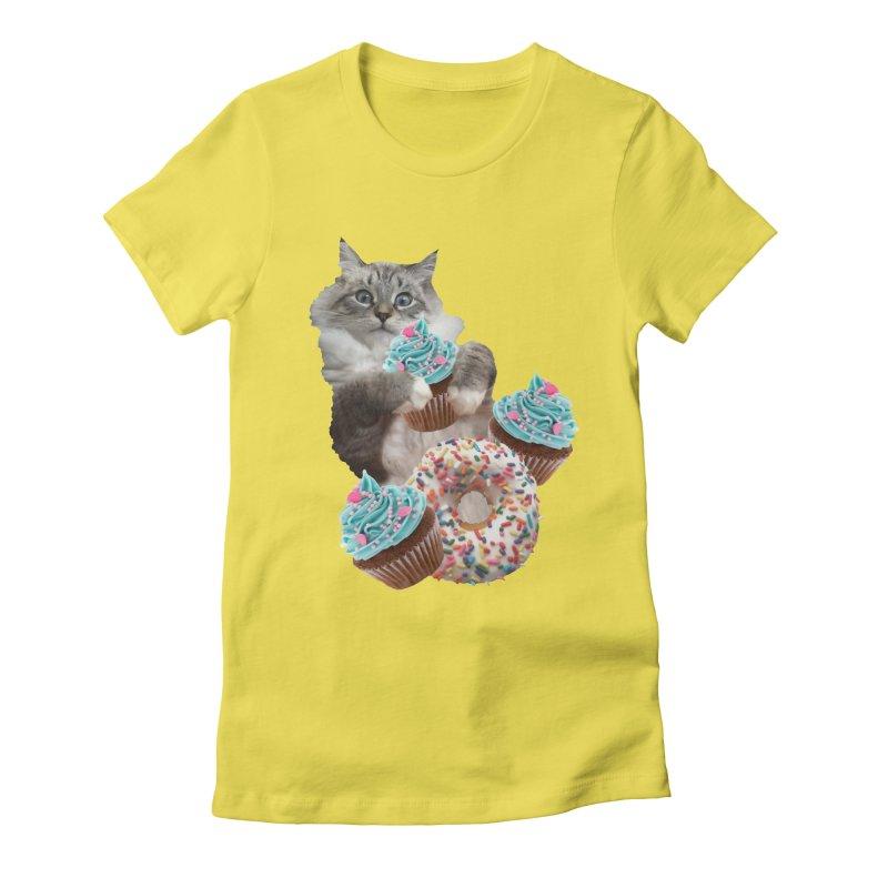 Cupcake Donut Cat  Women's Fitted T-Shirt by heARTcart's Artist Shop