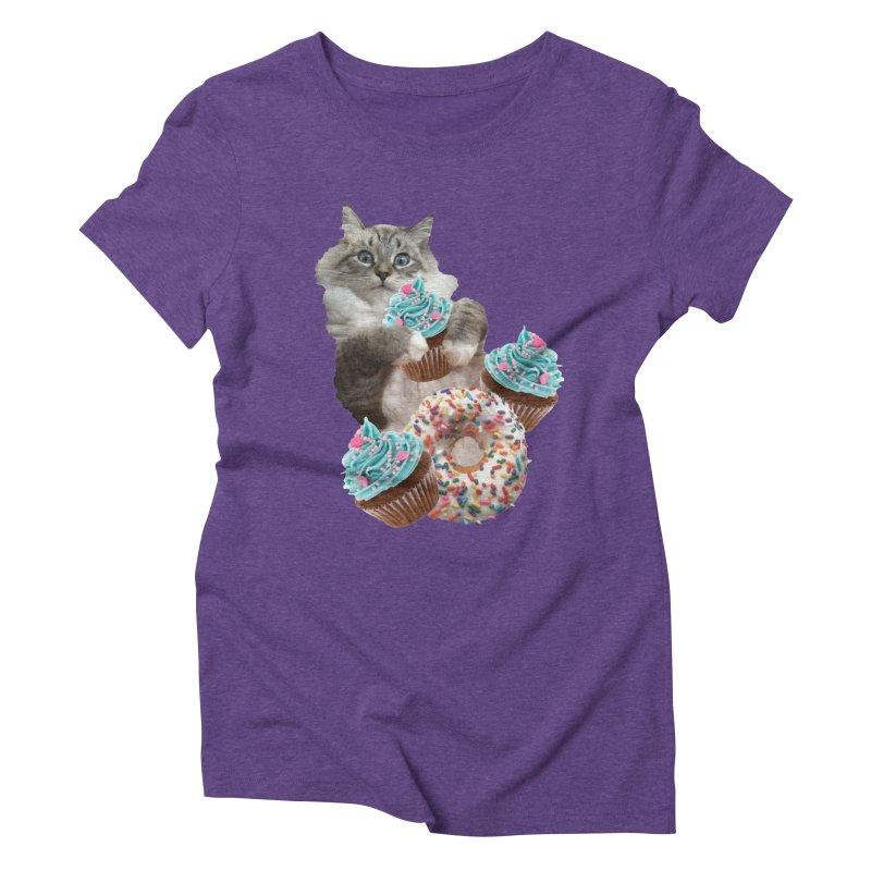 Cupcake Donut Cat  Women's Triblend T-Shirt by heARTcart's Artist Shop