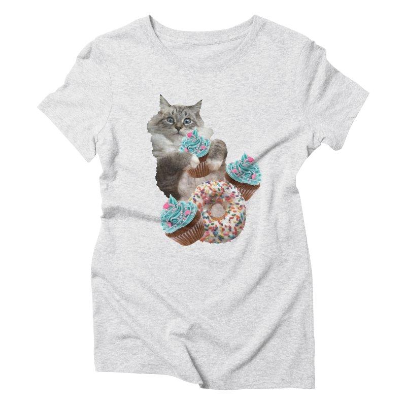 Cupcake Donut Cat  Women's T-Shirt by heARTcart's Artist Shop