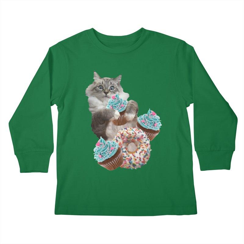 Cupcake Donut Cat  Kids Longsleeve T-Shirt by heARTcart's Artist Shop