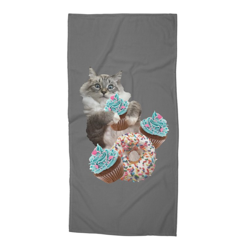 Cupcake Donut Cat  Accessories Beach Towel by heARTcart's Artist Shop