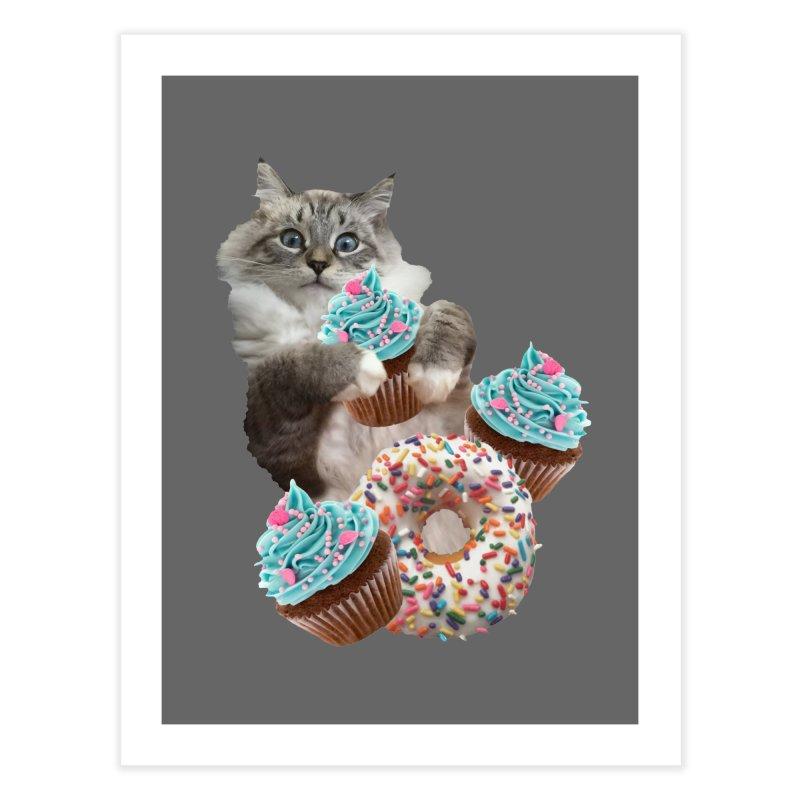 Cupcake Donut Cat  Home Fine Art Print by heARTcart's Artist Shop