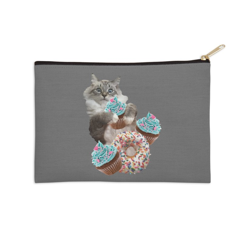 Cupcake Donut Cat  Accessories Zip Pouch by heARTcart's Artist Shop