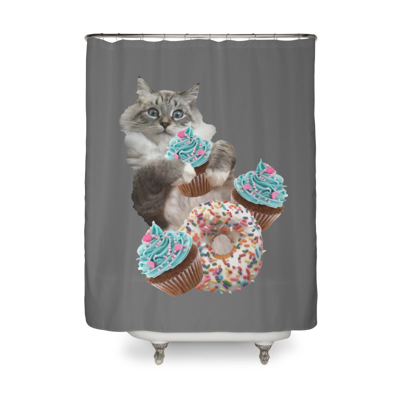 Cupcake Donut Cat  Home Shower Curtain by heARTcart's Artist Shop