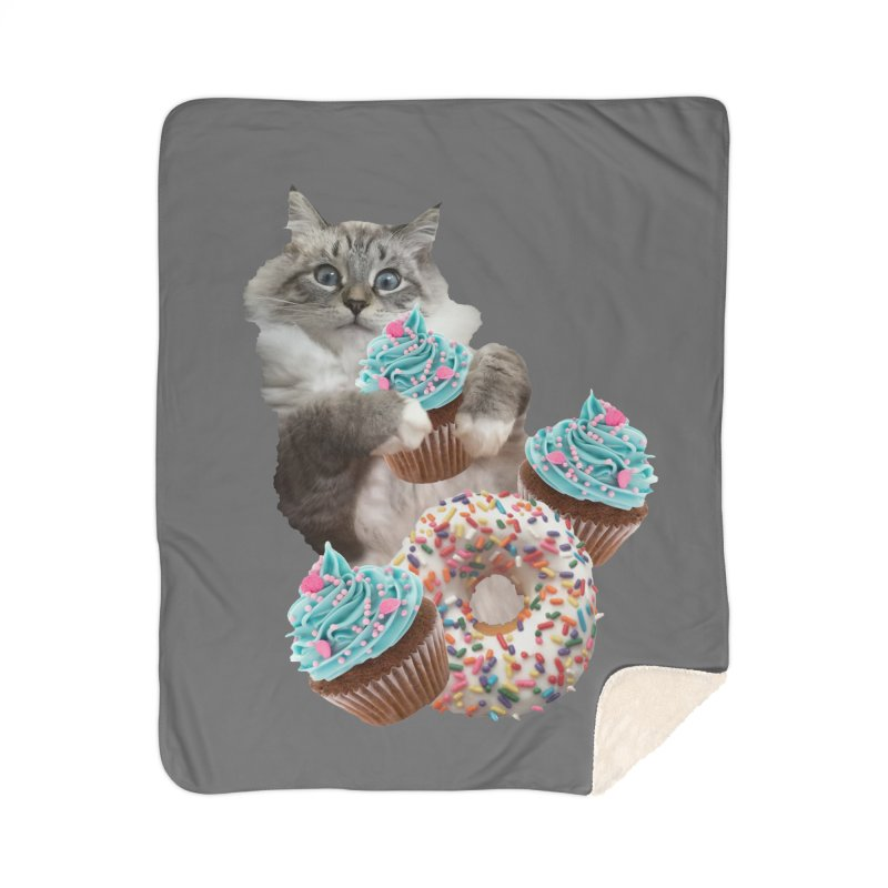Cupcake Donut Cat  Home Sherpa Blanket Blanket by heARTcart's Artist Shop