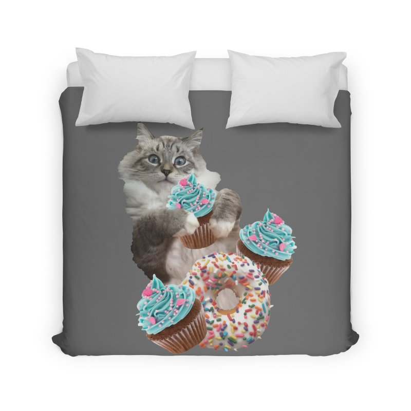 Cupcake Donut Cat  Home Duvet by heARTcart's Artist Shop