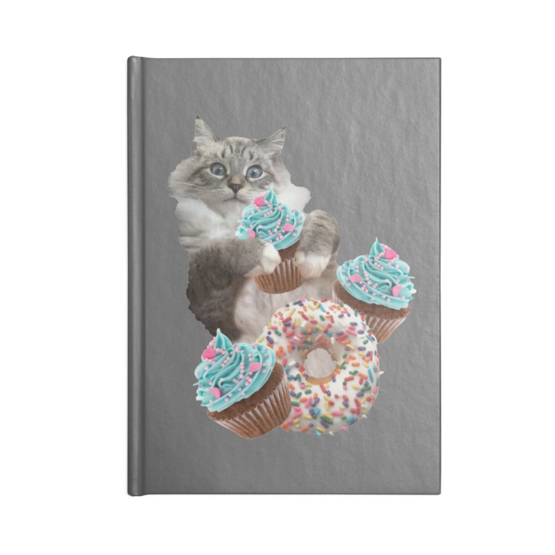 Cupcake Donut Cat  Accessories Lined Journal Notebook by heARTcart's Artist Shop