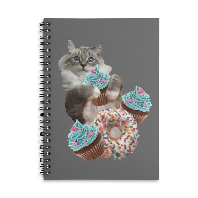 Cupcake Donut Cat  Accessories Lined Spiral Notebook by heARTcart's Artist Shop
