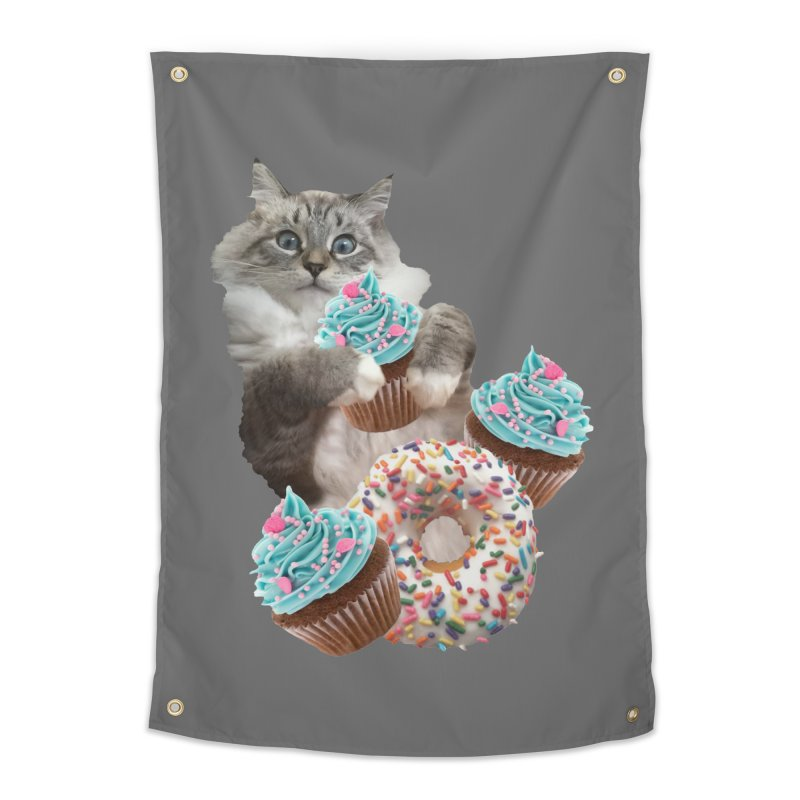 Cupcake Donut Cat  Home Tapestry by heARTcart's Artist Shop