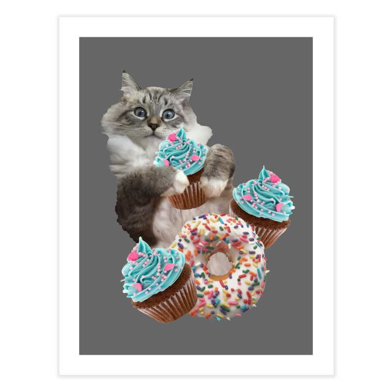 Cupcake Donut Cat  Home Fine Art Print by heARTcart's Artist Shop