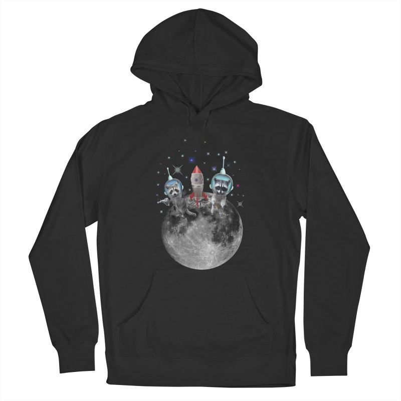 Raccoons in Space Trash Panda Moon Landing Men's Pullover Hoody by heARTcart's Artist Shop