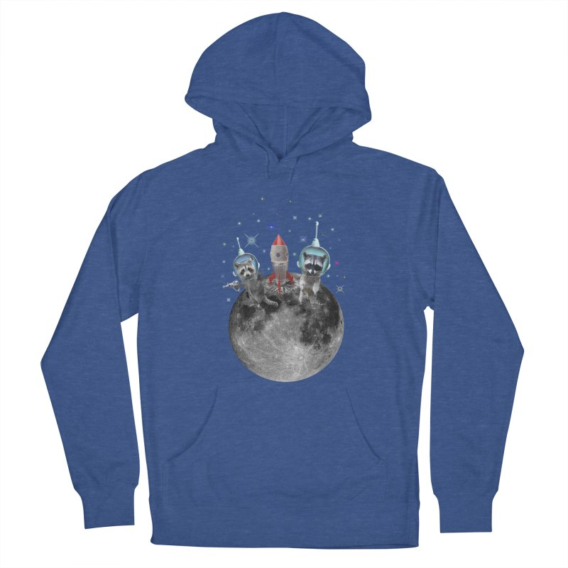 Raccoons in Space Trash Panda Moon Landing Men's Pullover Hoody by heARTcart's Artist Shop