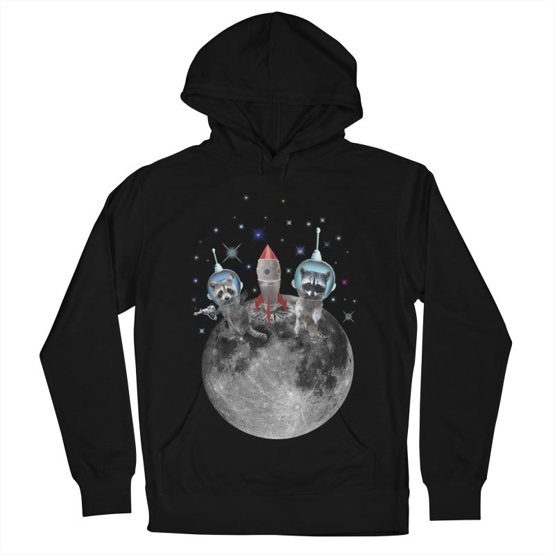 Raccoons in Space Trash Panda Moon Landing Women's French Terry Pullover Hoody by heARTcart's Artist Shop