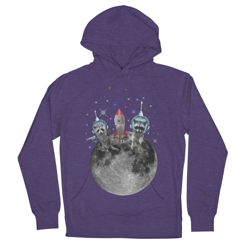 Raccoons in Space Trash Panda Moon Landing Men's French Terry Pullover Hoody by heARTcart's Artist Shop