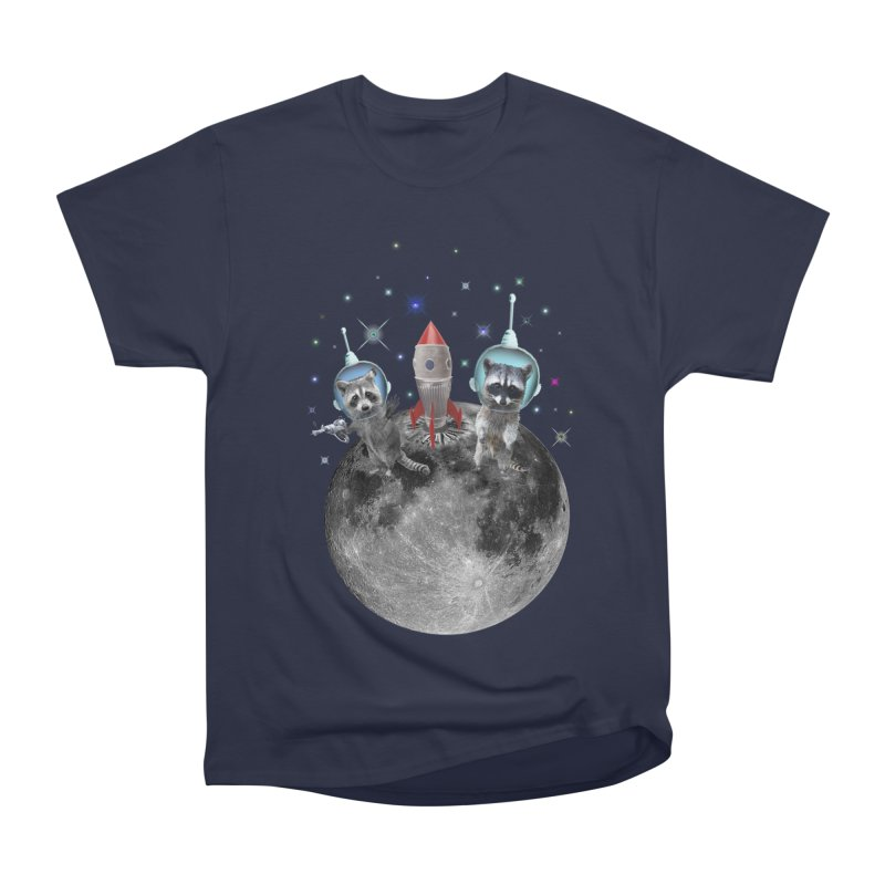 Raccoons in Space Trash Panda Moon Landing Men's Heavyweight T-Shirt by heARTcart's Artist Shop