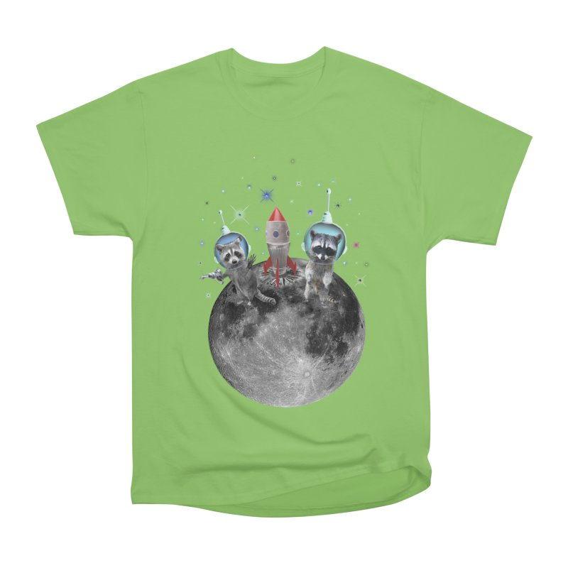 Raccoons in Space Trash Panda Moon Landing Women's Heavyweight Unisex T-Shirt by heARTcart's Artist Shop