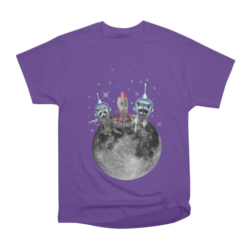 Raccoons in Space Trash Panda Moon Landing Men's Heavyweight T-Shirt by heARTcart's Artist Shop