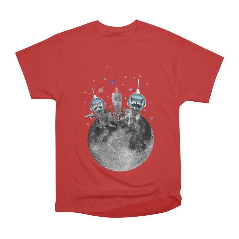 Raccoons in Space Trash Panda Moon Landing Women's Heavyweight Unisex T-Shirt by heARTcart's Artist Shop