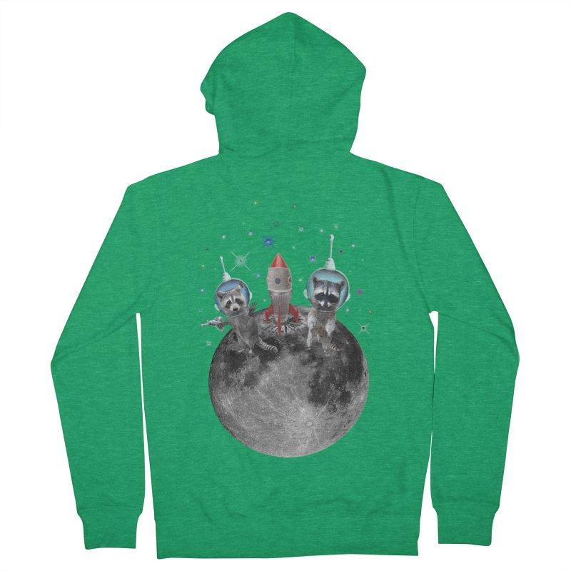 Raccoons in Space Trash Panda Moon Landing Women's Zip-Up Hoody by heARTcart's Artist Shop