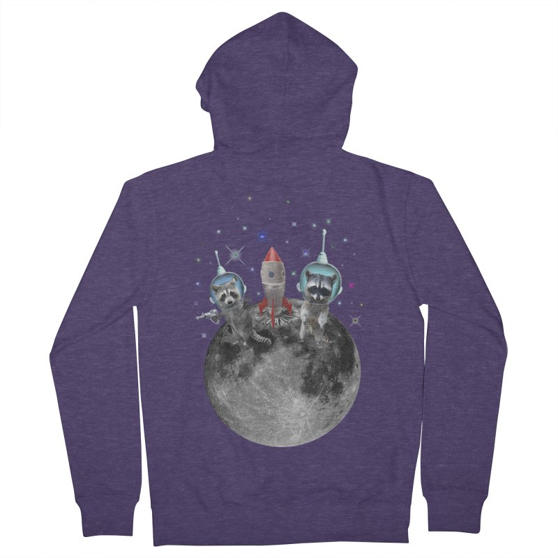 Raccoons in Space Trash Panda Moon Landing Men's French Terry Zip-Up Hoody by heARTcart's Artist Shop