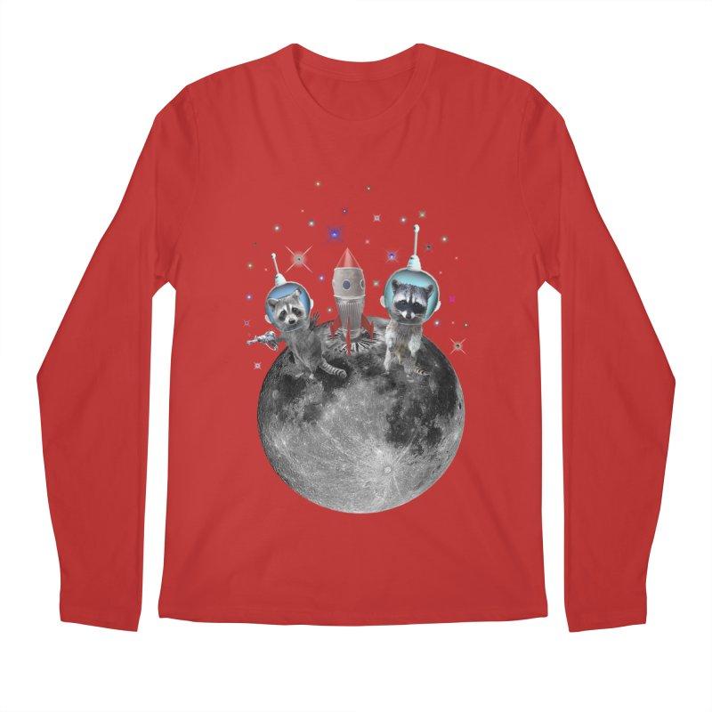 Raccoons in Space Trash Panda Moon Landing Men's Regular Longsleeve T-Shirt by heARTcart's Artist Shop