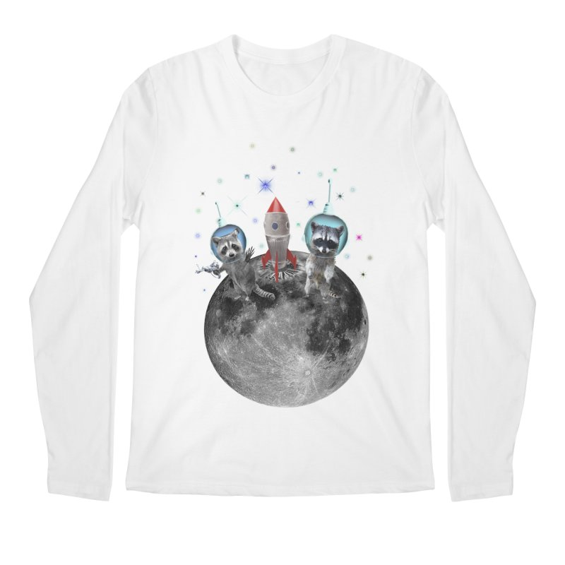 Raccoons in Space Trash Panda Moon Landing Men's Regular Longsleeve T-Shirt by heARTcart's Artist Shop