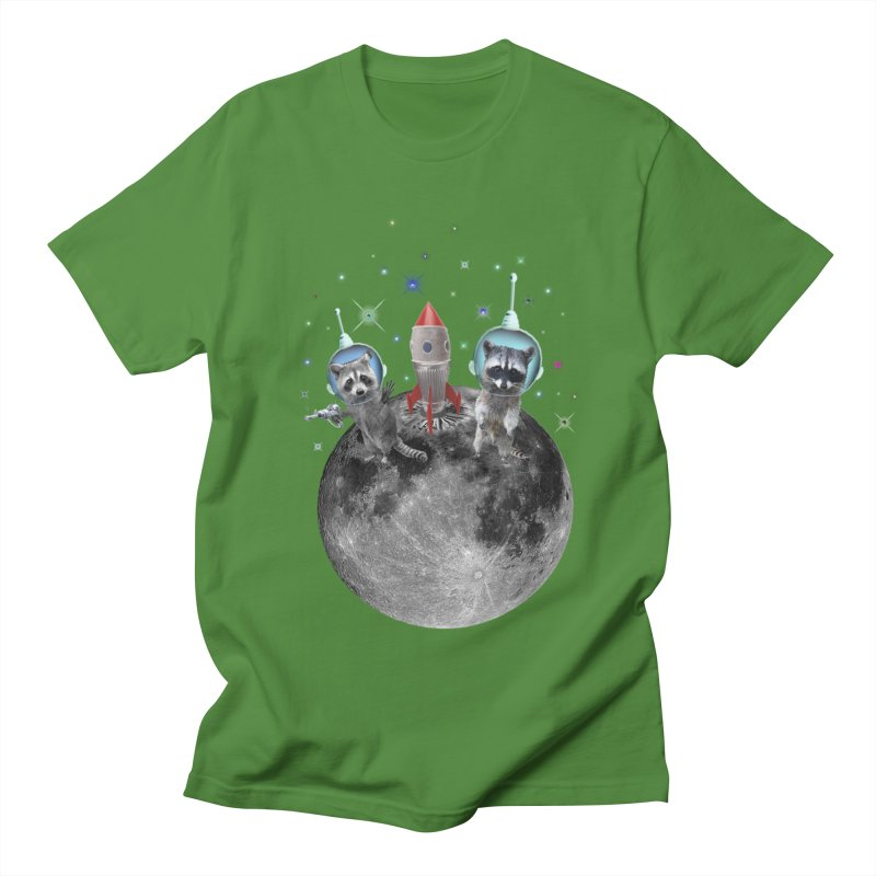 Raccoons in Space Trash Panda Moon Landing Women's Regular Unisex T-Shirt by heARTcart's Artist Shop