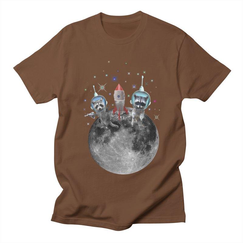 Raccoons in Space Trash Panda Moon Landing Women's Regular Unisex T-Shirt by heARTcart's Artist Shop