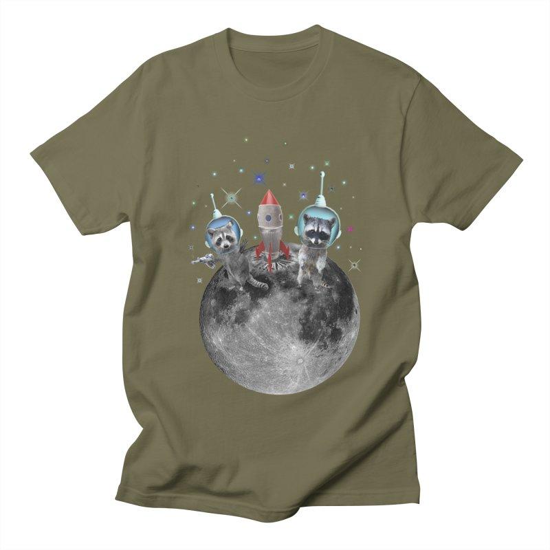 Raccoons in Space Trash Panda Moon Landing Men's Regular T-Shirt by heARTcart's Artist Shop