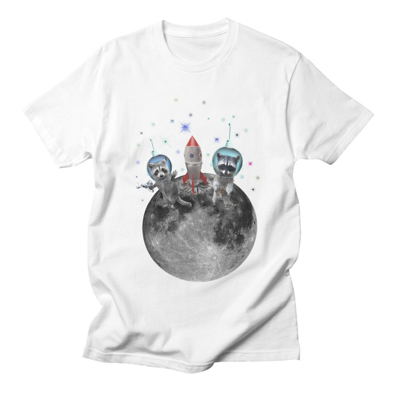 Raccoons in Space Trash Panda Moon Landing Men's Regular T-Shirt by heARTcart's Artist Shop