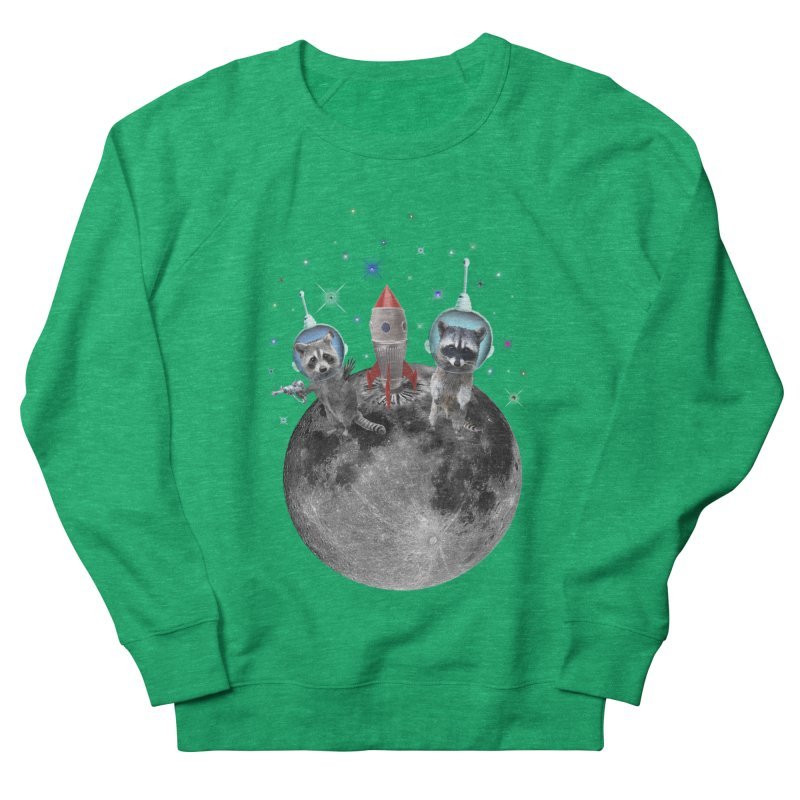 Raccoons in Space Trash Panda Moon Landing Women's French Terry Sweatshirt by heARTcart's Artist Shop