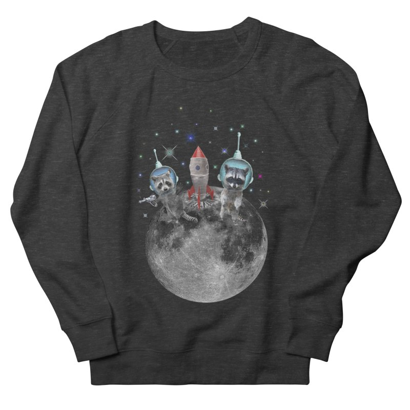 Raccoons in Space Trash Panda Moon Landing Women's French Terry Sweatshirt by heARTcart's Artist Shop