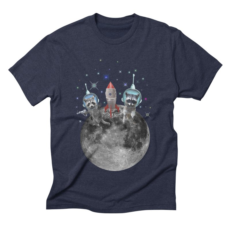 Raccoons in Space Trash Panda Moon Landing Men's Triblend T-Shirt by heARTcart's Artist Shop