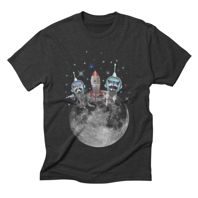 Raccoons in Space Trash Panda Moon Landing Men's Triblend T-Shirt by heARTcart's Artist Shop