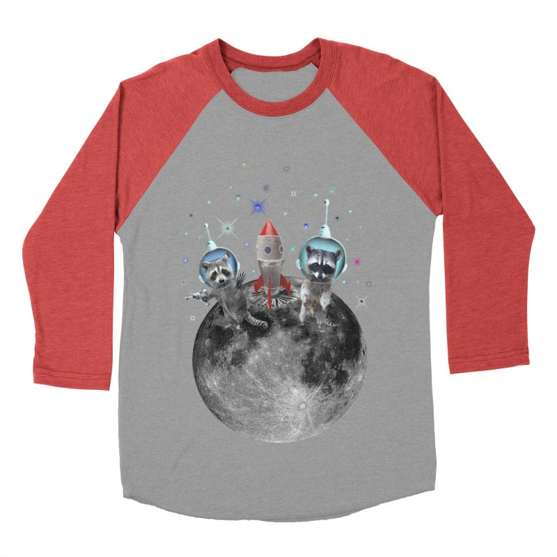 Raccoons in Space Trash Panda Moon Landing Women's Baseball Triblend Longsleeve T-Shirt by heARTcart's Artist Shop