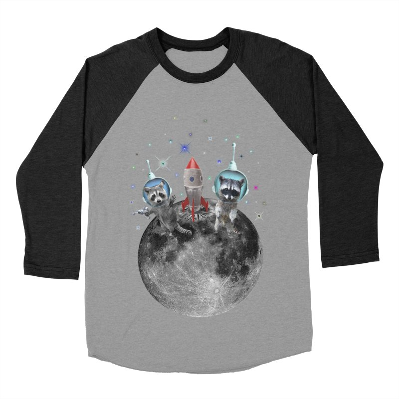 Raccoons in Space Trash Panda Moon Landing Women's Baseball Triblend Longsleeve T-Shirt by heARTcart's Artist Shop