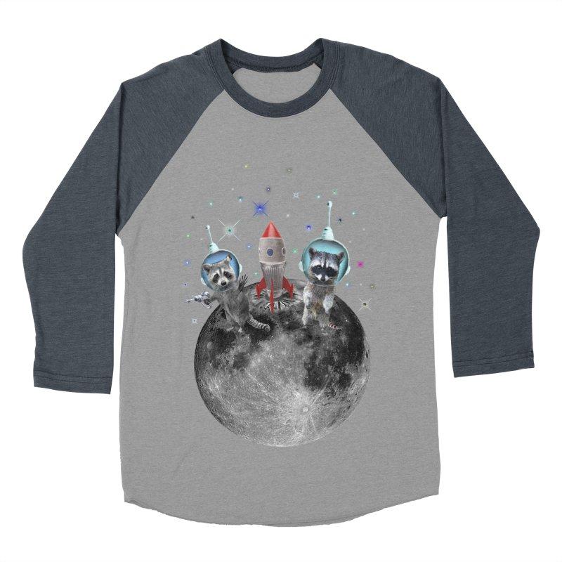Raccoons in Space Trash Panda Moon Landing Men's Longsleeve T-Shirt by heARTcart's Artist Shop