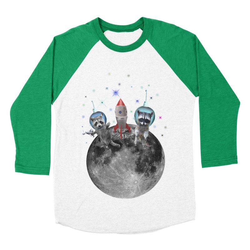Raccoons in Space Trash Panda Moon Landing Men's Baseball Triblend Longsleeve T-Shirt by heARTcart's Artist Shop