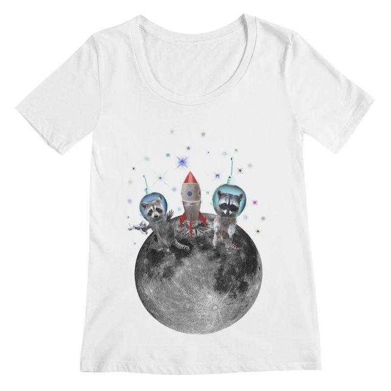 Raccoons in Space Trash Panda Moon Landing Women's Regular Scoop Neck by heARTcart's Artist Shop