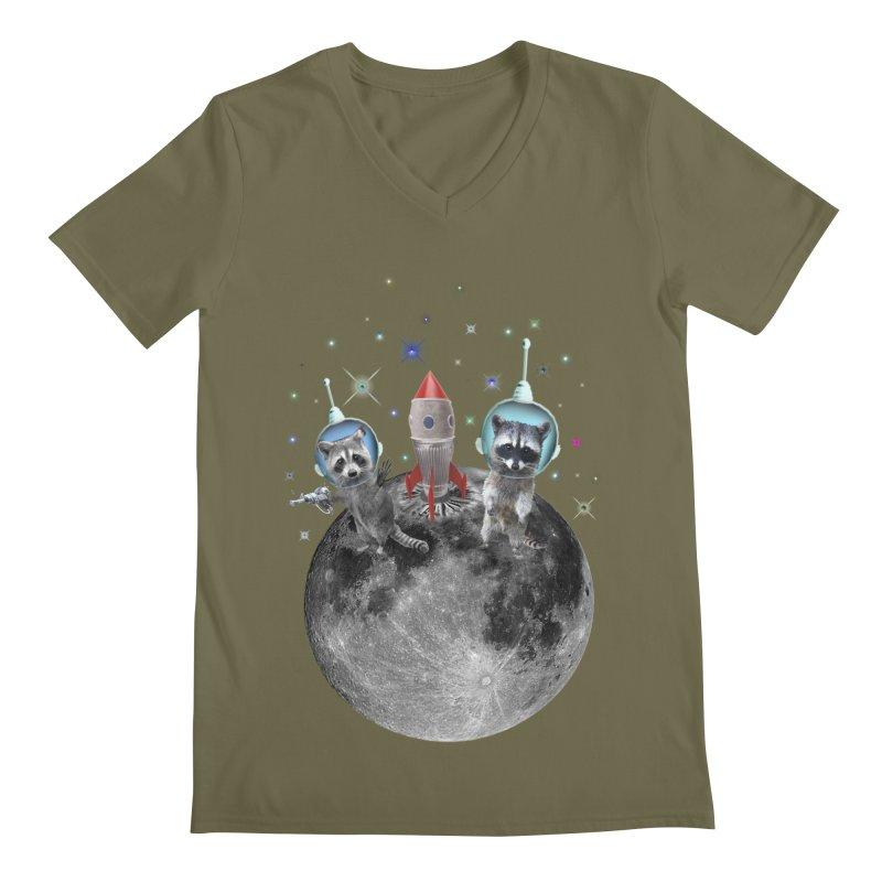Raccoons in Space Trash Panda Moon Landing Men's Regular V-Neck by heARTcart's Artist Shop
